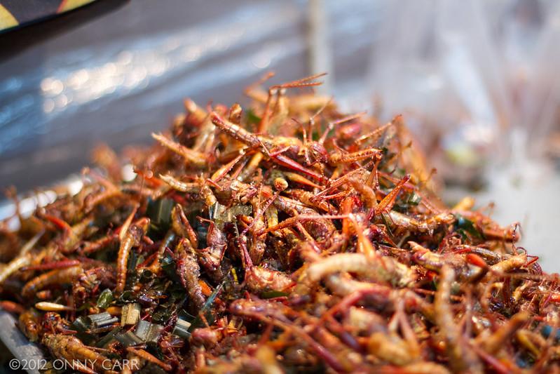 Bizarre Gerichte aus Asien: Jing Leed - Frittierte Grashüpfer oder Grillen aus Thailand